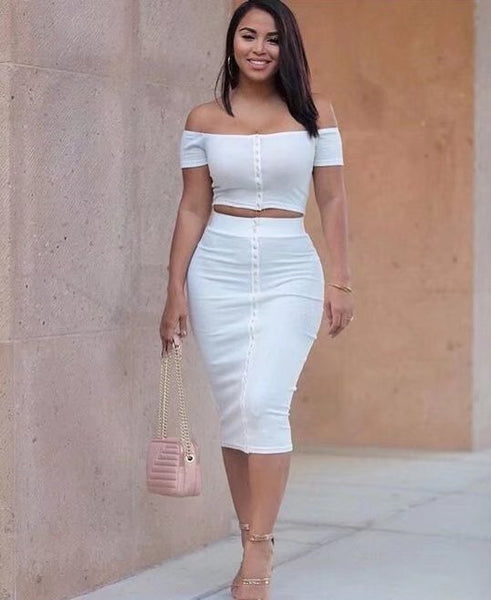 Pure Color Crop Top with Skirt Two Pieces Dress Set