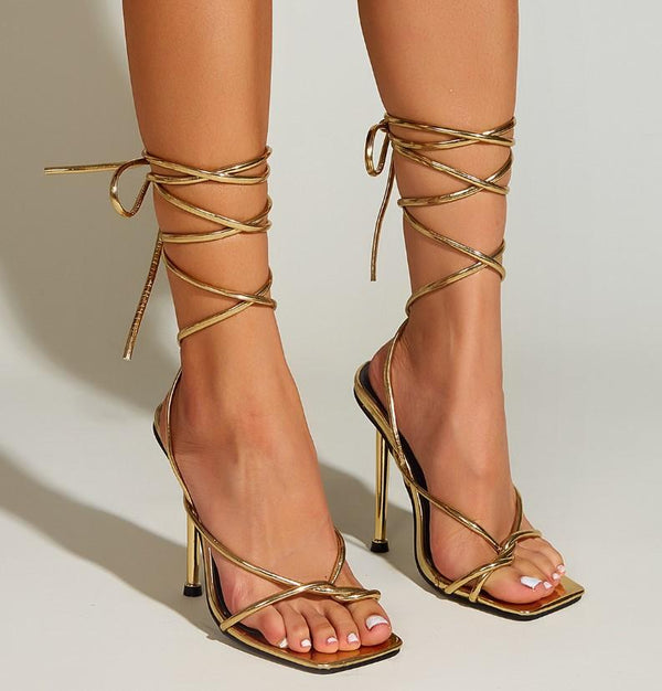 Strapped High Heel Square Sandals