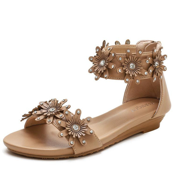 Floral Roman one line casual Sandals