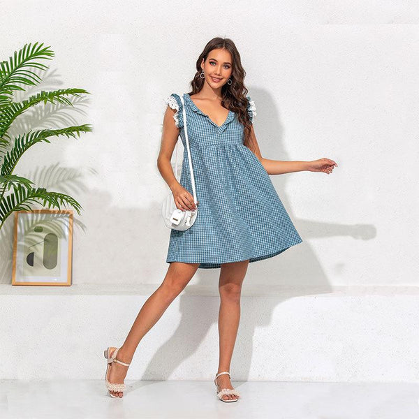 Polka Dot Ruffle denim Dress