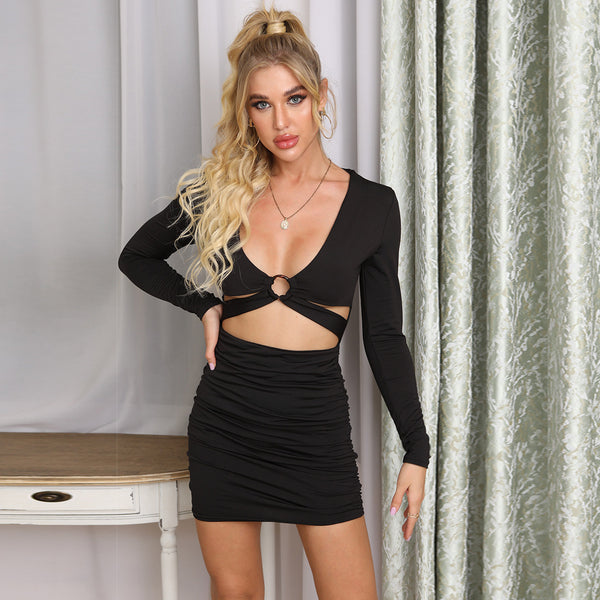 Sexy V Neck Long sleeve Metal ring hollowing Bodycon Dress