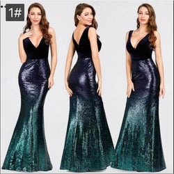 Gradient Color Sequin Empire Waist Evening Dress