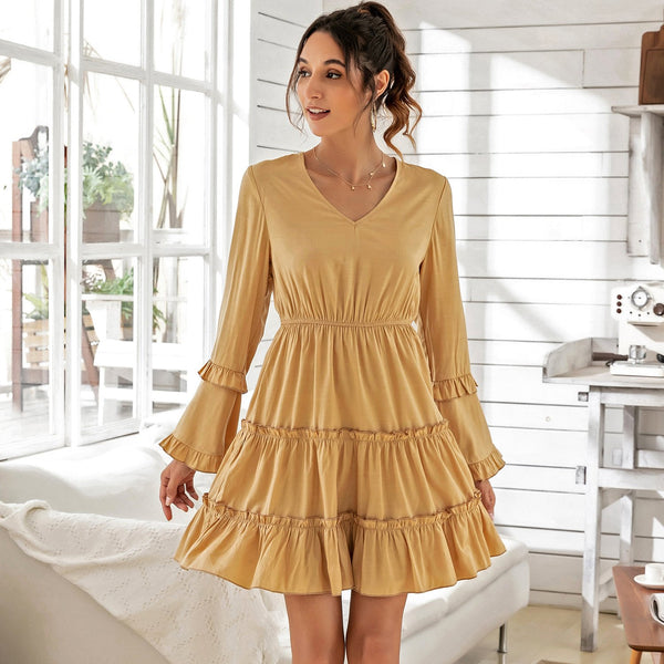 Bubble Sleeve Yellow Dress