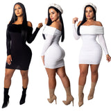 Pure Color Off Shoulder Bodycon Short Party Dress