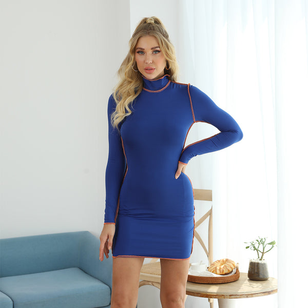 Fashionable round neck contrast long sleeve hip dress
