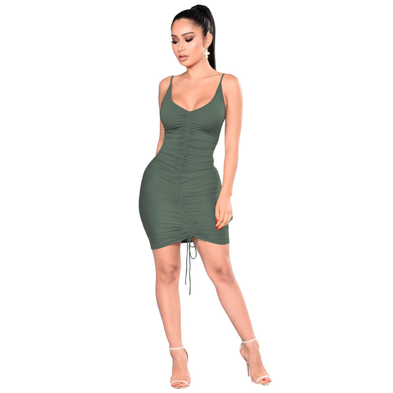 Pure Color Spaghetti Straps Deep V-neck Short Club Dress