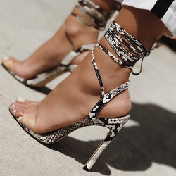 Print Peep Toe Ankle Lace Up Wrap Stiletto Heels Sandals