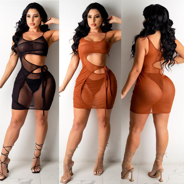 Bandage high stretch nightclub sexy mesh Dress + Underwear
