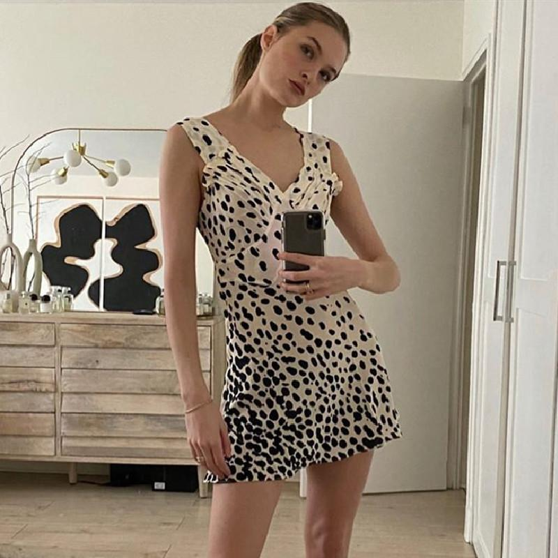 Polka Leopard V-Neck Waist Dress