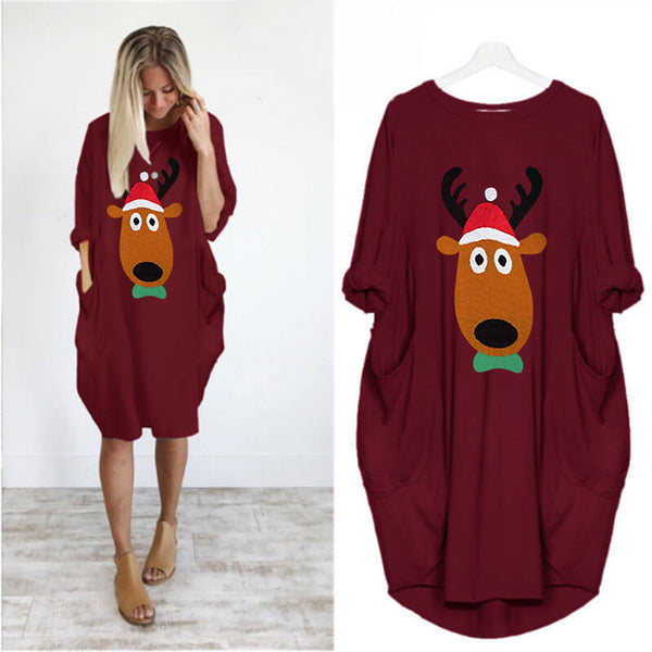 Christmas Loose Reindeer Print Sweatshirt Midi Dress