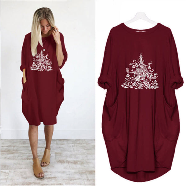 Loose Christmas Tree Print Sweatshirt Midi Dress
