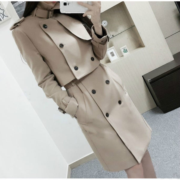 Stand Collar Double Breasted Hasp Slim Long Two Pieces Coat