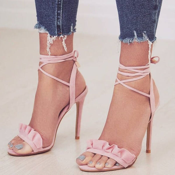 Simple Flapper Strap Open Toe Buckle High Heel Sandals