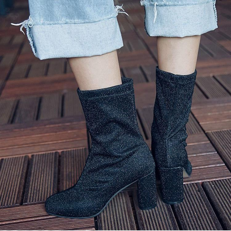 Pointed Toe 2018 New Trend High Chunky Heel Half Boots US 5 | EU 35 | UK 3 | CN 34-US 10.5 | EU 41 1/3 | UK 7.5 | CN 43