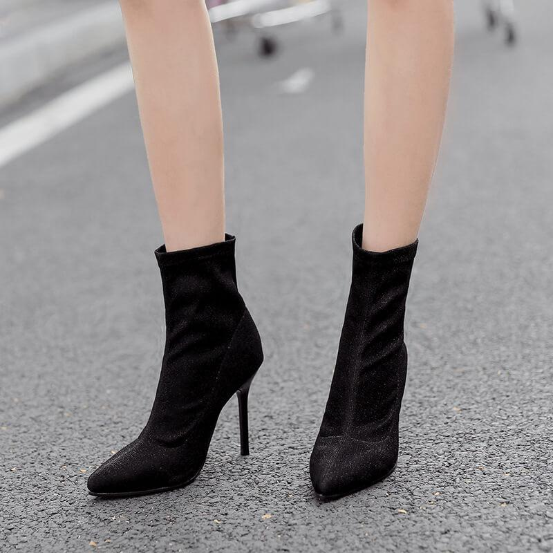 High Heel Pointed Toe Suede Ankle Boots