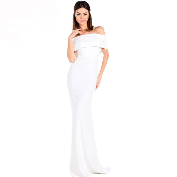Off Shoulder Back Bow Maxi Dress