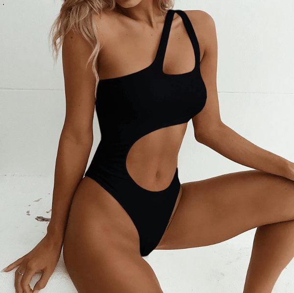 One Shoulder Bright Color Cutout High Cut Swimsuits