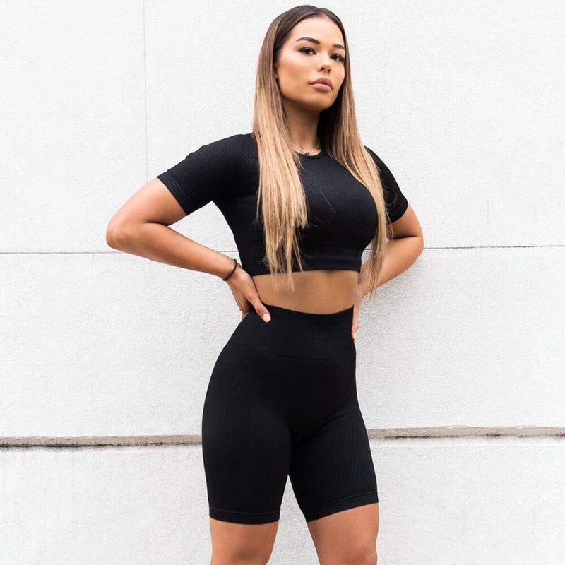 Sexy Plain Short Sleeve Bodycon High Waist Stretch Two Pieces Set