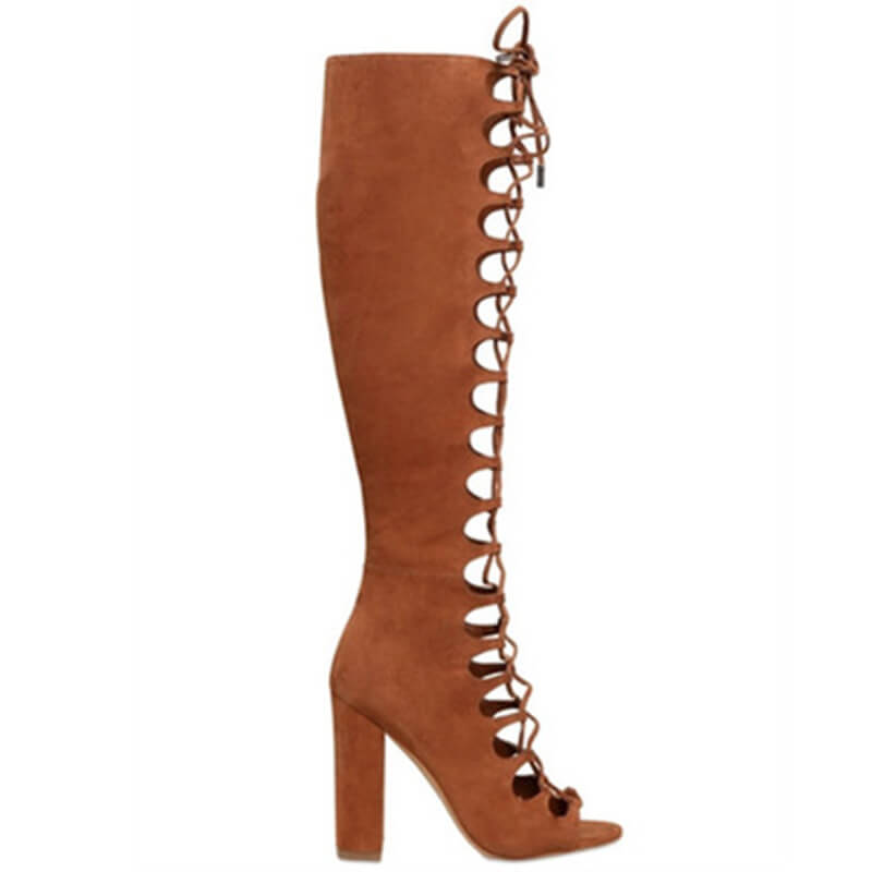 Brown Suede Cutout Zipper Open Toe Knee High Boots