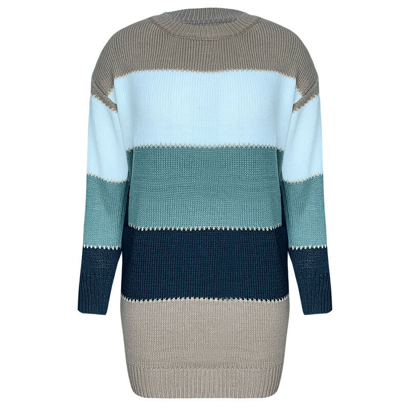 Knitted Colorblock Sweater Dress