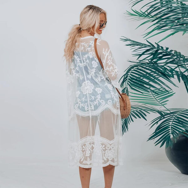 Lace See Through 3/4 Sleeve Cover Up Dress