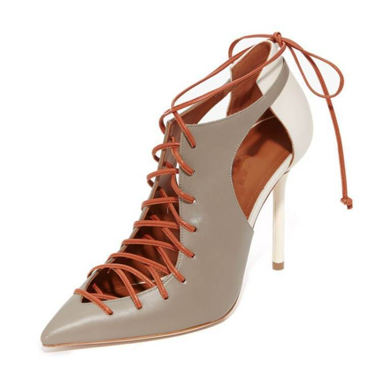 Closed Toe Lace Up Strappy Ankle Sandals