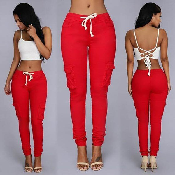 Sexy High Waist Strap Pockets Skinny Pants