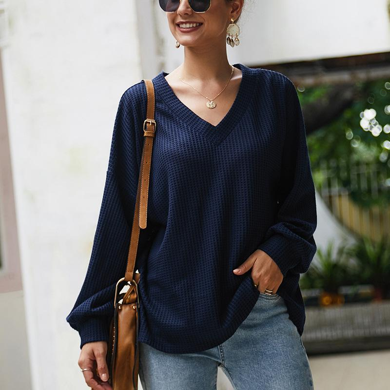 Loose V Neck Balloon Sleeve Knit Sweater