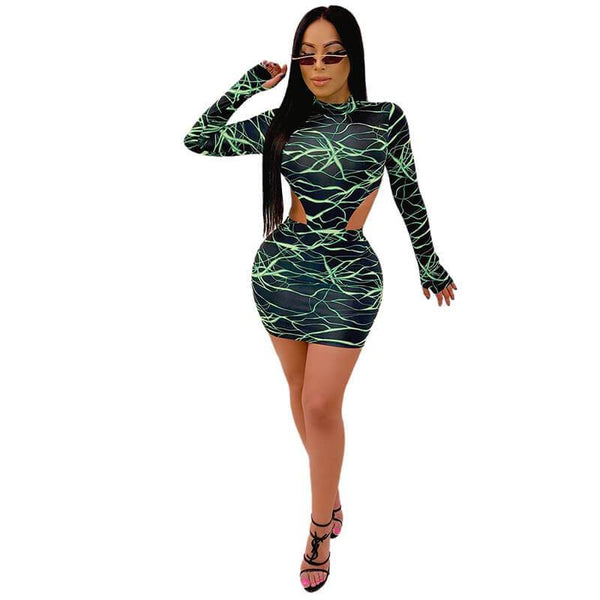 Print High Neck Crop Top High Waist Short Skirt Set