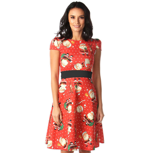 Christmas Print Empire Waist Cap Sleeve Dress