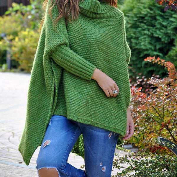 Turtleneck Low High Loose Batwing Sweater