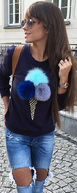 Cute Furry Ball Icecream Print Long Sleeve Sweatshirt