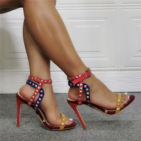 Fashion Multi Rivet Open Toe High Heel Sandals