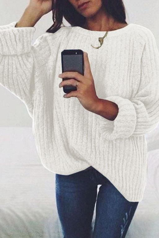 Pure Color Long Sleeves Scoop Regular Loose Sweater