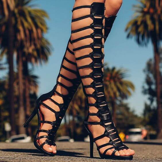 Black Leather Cutout High Heel Knee High Sandals