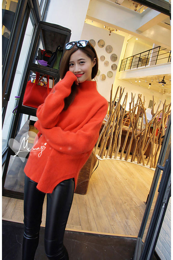Warm High Neck Solid Color Side Split Long Sleeves Sweater