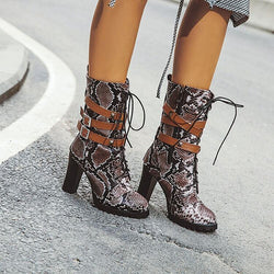 Snakeskin Lace Up High Heel Buckle Calf Boots