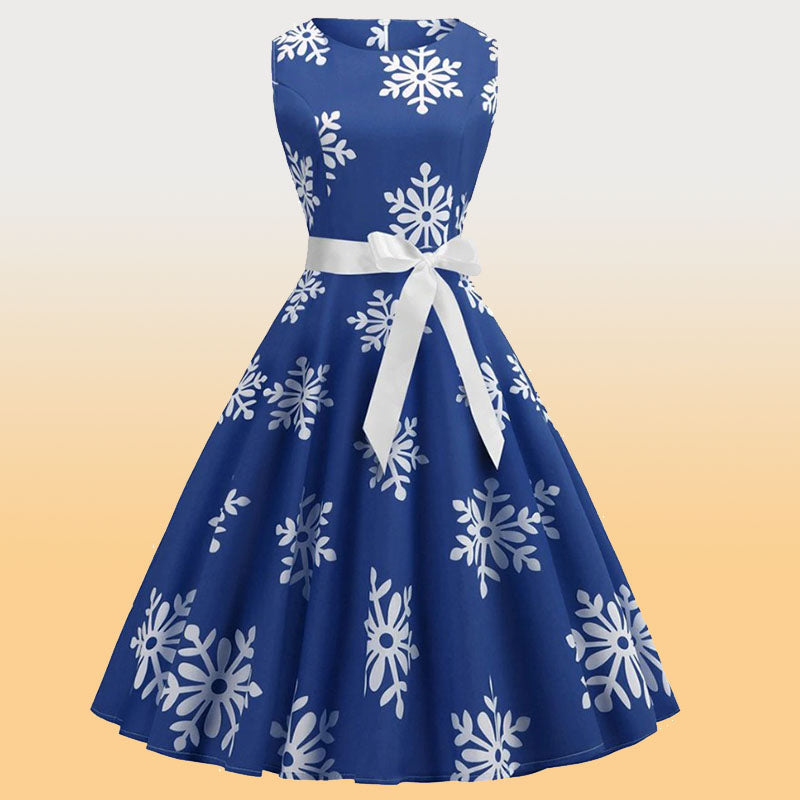Retro Christmas Snowflakes Sleeveless Dress