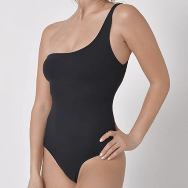 One Shoulder Plain Backless High Cut Swimsuits