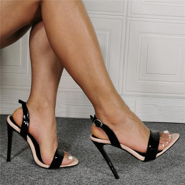 Casual Black Open Toe High Heel Sandals