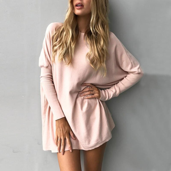 Long Batwing Sleeves Loose Pure Color Long Sweater