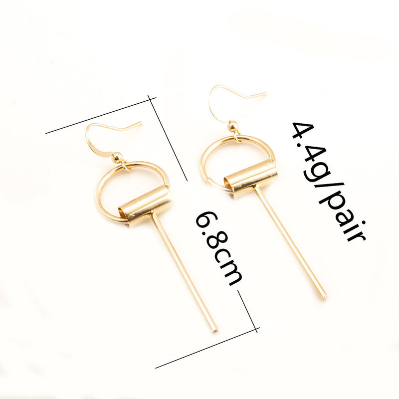 Beautiful Strip Tassel Of Brass Earrings