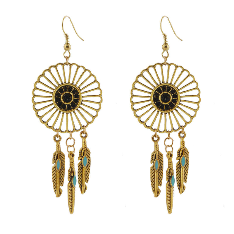 National Style Feather Tassel Earrings