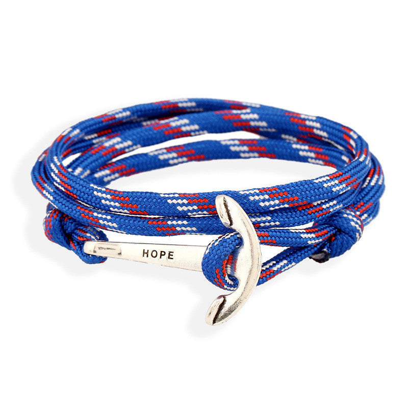 Fashion Navy Anchor Woven Chinlon Bracelet