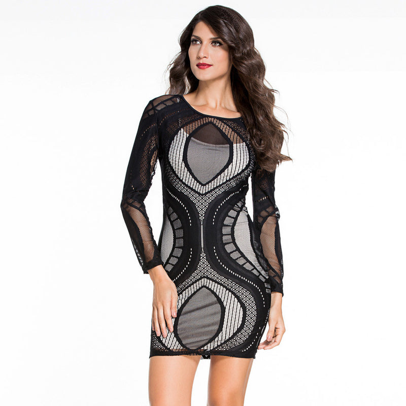 Long Sleeves Scoop Mesh Patchwork Short Bodycon Dress