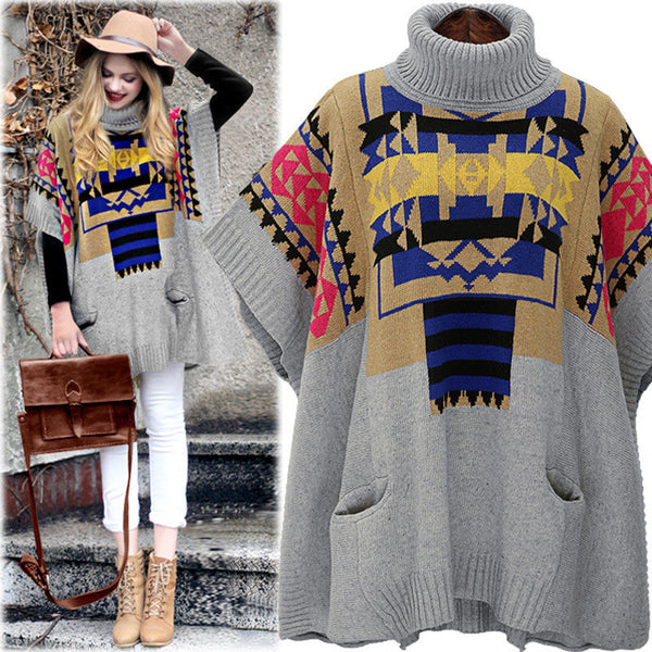 High-neck Batwing Color Contrast Pockets Short Sweater