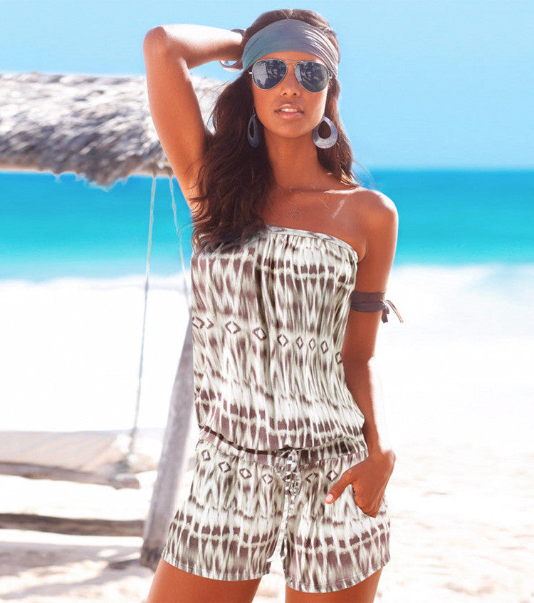 Fashion Strapless Printed Beach Short Jumpsuits