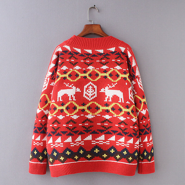 Christmas Reindeer Button Cardigan Sweater