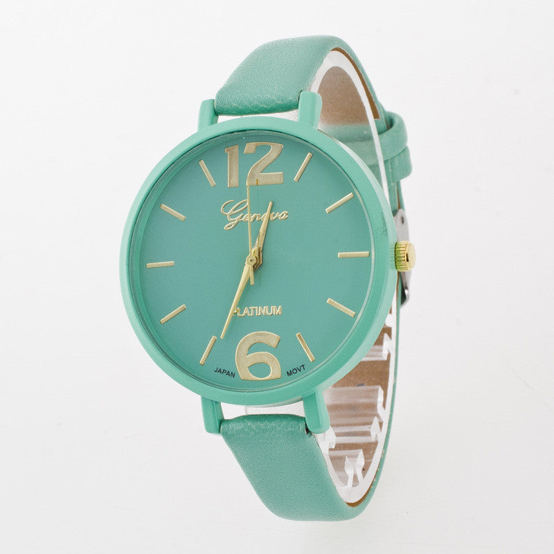 Leisure Fashion Candy Color PU Watch