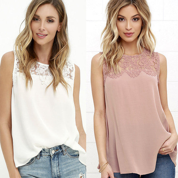 Scoop Pure Color Lace Chiffon Patchwork Sleeveless Tank Top